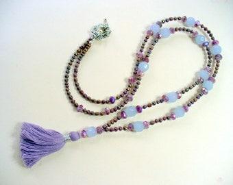 Purple Periwinkle Tassel Necklace, Tassel Beaded Necklace, Long Bead Tassel, Statement Necklace, Boho Necklace, Purple and Brown, AB