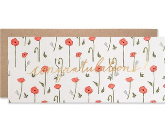 Neon Red Poppies Congratulations with Gold Foil