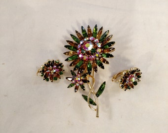Floral Brooch and Matching Clip Earrings, Navette and Round Rhinestones, Pink and Green