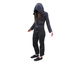 Hooded  Wrap / Double Point / Marbled Black / Grey / Oversize Hood / Handmade / Cotton