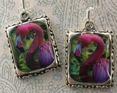 Pink Flamingo Earrings Picture Jewelry 3D Dimensional Silver Green