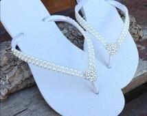 Havaianas Pearls Rock Slim Bridal Ivory Off White Cream Swarovski Crystal Rhinestone Flip Flops Bling Silver BridesMaid Beach Wedding shoes