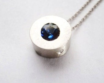 4.25 mm Ceylon Sapphire Bauhaus Diamond Silver Necklace