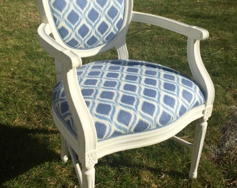 Oval Back Blue and White Chair