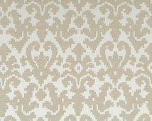Taupe Ivory Upholstery Fabric - Light Brown Damask Bedding Headboard Fabrics - Damask Pillow Cushion Covers - Taupe Curtain Roman Shades