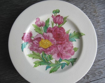 """Floral Vintage Luncheon Plates, Bridal Showers & Luncheons, Garden Weddings, Tea Parties, Pink Peonies, Shabby Chic, Set of 5, 9"""" Diam."""