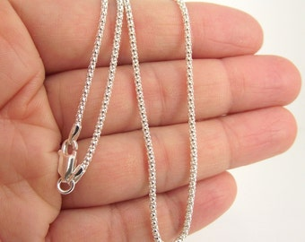 18 Inch Silver Chain, Bombata Sterling Silver Chain, 1.8mm Silver Chain, Finished Chain, Ready to Wear