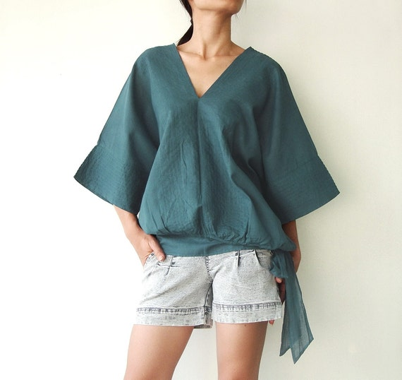 NO.13 Teal Cotton V-Neck Top, Dolman Sleeves Top, Women's Top