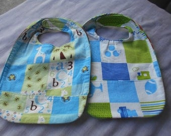 SMALL Patchwork Print REVERSIBLE BIBS with Pocket and Velcro fastners