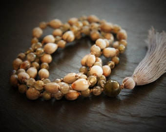 SALE! 108 Ajna Mala, Yoga Necklace, Labradorite and Vaijayanti Seed, Third Eye Chakra, Yoga Necklace
