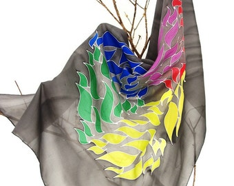 Elegant, handpainted silk scarf. mandala rainbow. Silk bandana. gift for her.90x90cm. special gift.