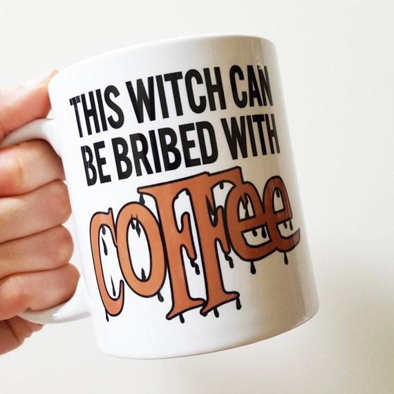 """Handmade """"This Witch Can Be Brided With Coffee"""" Mug - Halloween Coffee Cup - Handmade Holiday Mug"""