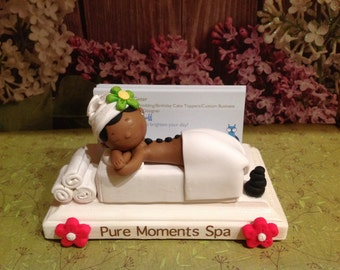 Custom spa Polymer clay business card holder,pamper, massage rocks, day spa,resort spa,spa treatment,facials,handmade