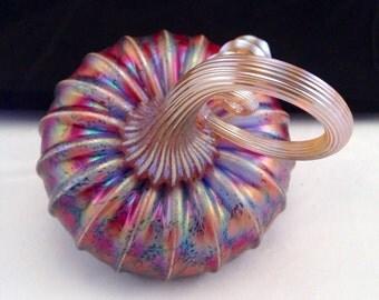 """Jack Pine Studio Hand Blown Glass Pumpkin Sky Blue Rose Frit Medium Tilt """"50282"""""""