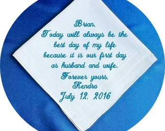 Bride to Groom  Heirloom Embroidered, Personalized Hanky, Gift, Handkerchief