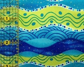 DESTASH Fabric - 1 Yard  Blue and Green Gems of the Sea by Janet Broxon for  P&B Textiles - Quilting Cotton Fabric