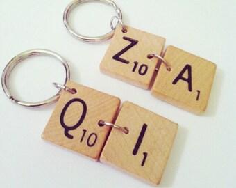 QI or ZA scrabble keychain