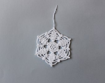 Crochet snowflake, Christmas tree ornament, white, Home decoration, Wall hanging, Ready to ship