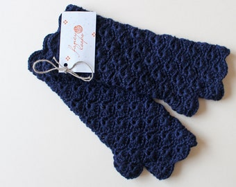 Crochet dark blue, fingerless gloves, arm mittens, arm warmers, crochet lace, Ready to ship