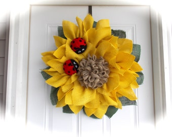Sunflower wreath/ladybug wreath