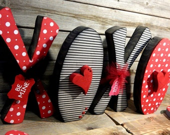 Xoxo Valentines Decor. Solid wood letters