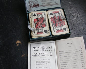 antique shipping playing cards orient line to Australia with instructions, free uk post