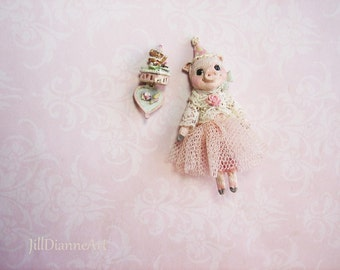 "Little Pink Piglet Birthday Doll hand-sculpted 1.5"" glass eyes, lace, rose, antique style - Jill Dianne Art Dollhouse Miniatures"