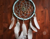 Dream Catcher - Turquoise Dreams - With Pure White Feathers and Transitional Whool Yarn - Boho Home Decor, Nursery Mobile