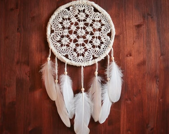 Dream Catcher - Floral Clouds - With White Crochet Web and Pure White Feathers - Boho Home Decor, Nursery Mobile