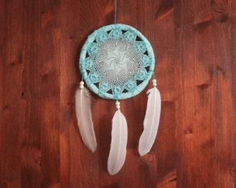 Dream Catcher - Turquoise Dreams - Unique Dream Catcher with White Handmade Crochet Web and White Feathers