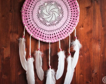 Dream Catcher - Cherry Queen - Unique Dream Catcher with Transitional Handmade Crochet Web and White Feathers