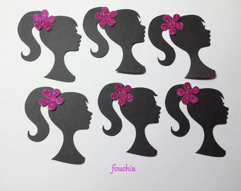 "60 Barbie Silhouette Die Cuts with Glittered flower 2.5""in x 2''in (CHOOSE  the COLOR of the FLOWERS)"