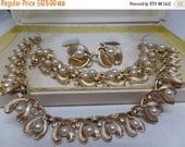 ON SALE CROWN Trifari Signed Vintage Pearl Necklace,Bracelet,and Earring Set in Original Box!