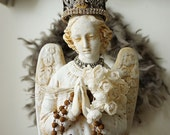 Angel statue French Nordic white distressed winged angelic figure rusty handmade crown rusted rosary shabby cottage chic anita spero design