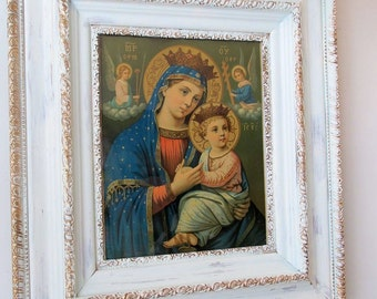 Framed Virgin Mary print lithograph wood gesso frame w/ wavy glass French Santos Madonna excellent condition wall decor anita spero design