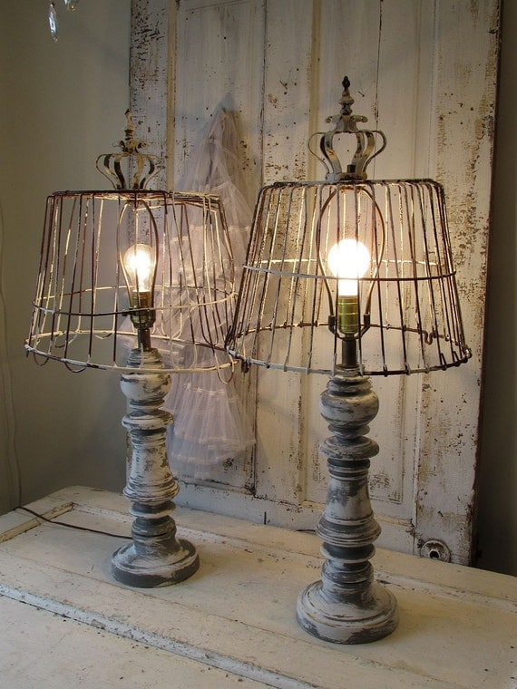 Wooden Baluster Table Lamp Rustic Farmhouse Distressed Wood