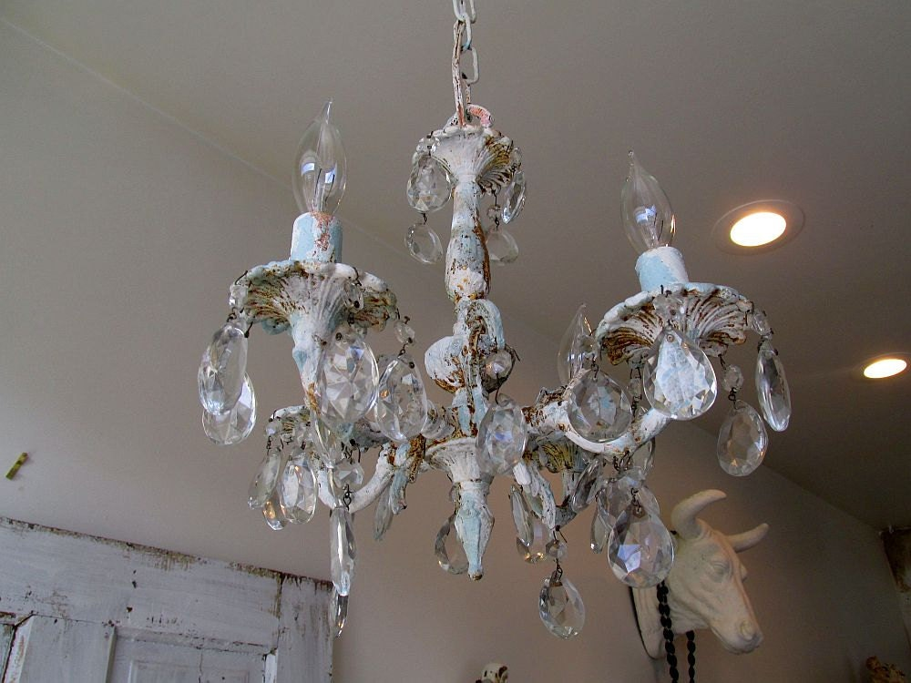 Distressed petite chandelier lighting shabby cottage chic blue