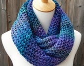 Multicolor Infinity Scarf - Blue, Purple and Green Infinity Scarf - Chunky Knit Scarf - Circle Scarf - Ready to Ship