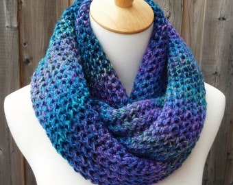 Multicolor Infinity Scarf - Blue, Purple, Turquoise, and Green Infinity Scarf - Chunky Knit Scarf - Circle Scarf - Ready to Ship
