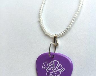 Dunlop Purple Guitar Pick Necklace