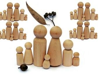 Wooden peg dolls - Bulk GROUP of 35 - 5 family set x 7 peg dolls - blank & unfinished. Natural wood craft doll - Wood peg people. Australia