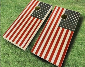 Two Tone STAINED American Flag Cornhole Board Set