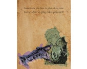 """MILES DAVIS quote,""""Sometimes you have to play a long time..."""", 10x14in and More Sizes, JAZZ art print, Original handmade drawing"""