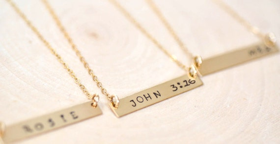 Bar Necklace in Gold and Silver, Bar Jewelry, Dainty Bar Necklace, Handstamped Necklace, Personalized Bar, Layering Jewelry, Custom Necklace