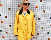 CLASSIC Rain Coat Yellow Twist Closure Long Sleeve Corduroy Collar Unisex Medium Rain Coat Jacket