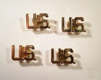 4 Goldplated Military U.S. Pins