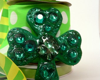 NOW 50% OFF!! Big Shamrock Brooch Sparkly Glittered Shamrock with Gems For St. Patrick's Day