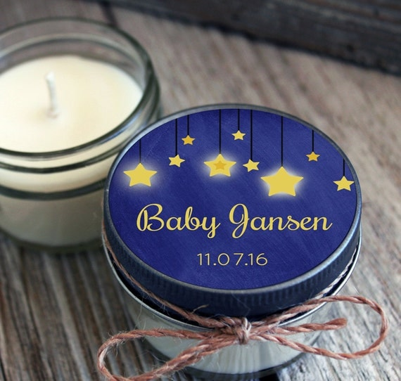 Set of 12 - 4 oz Baby Shower Favor Candle- Personalized Baby Shower Favors // Chalkboard Twinkle Little Star Favors