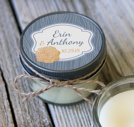 12 - 4 oz Bridal Shower Favor//Rose and Wood Favor//Soy Candle Favor//Personalized Wedding Favor//Shower Favor//Candle Favors//