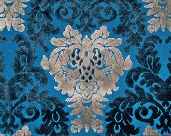 SILK LOOM OPULENCE Cut Velvet Damask Fabric 10 Yards Sapphire Platinum Silver